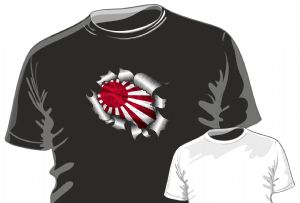 RIPPED TORN METAL Design With JDM Style Rising Sun Japanese Flag Motif mens or ladyfit t-shirt